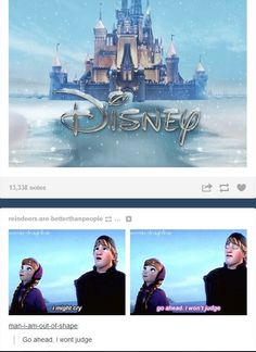 Haha Kristoff looking @ the frozen Disney castle :3