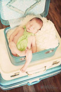 Newborn in Suitcases - Kendra Pryor Photography