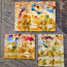 Three embroidery paintings on ecoprinted wool by Mirjam Gielen
