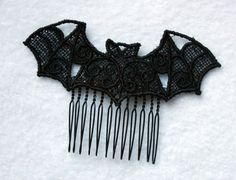 Gothic Lolita Pastel Goth Lace Bat Hair Comb on Black