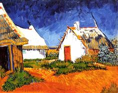 Vincent Van Gogh - Post Impressionism - Arles - Saintes-Maries - Une cabane blanchie à la chaux.