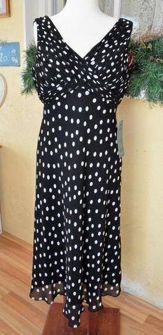 NEW Coldwater Creek Polka Dot Dress 14 Multi Color Pleated Bodice Sleeveless #ColdwaterCreek #EmpireWaist #PartyCocktailWedding