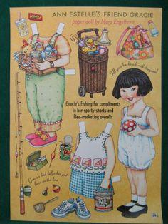Mary Engelbreit Paper Dolls Gracie Fishing Garage Sale Outfits Uncut | eBay