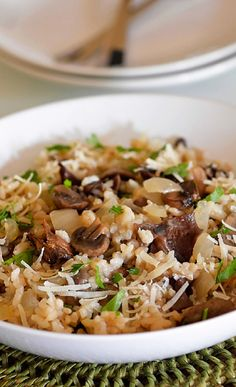 Perfect Mushroom Risotto from an Oven Bag ~ so easy and delicious! Rice Dishes, Pasta Dishes, Mushroom Risotto, Risotto Recipes, Side Dish Recipes, Snack Recipes, Vegetarian Recipes, Dinner Recipes, Save Recipe