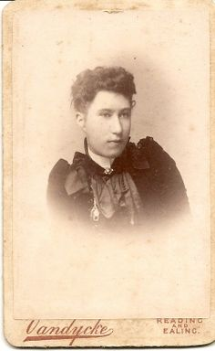7.Young woman on CDV card. Photographer is Vandycke Reading & Ealing. Probably Victor Emanuel Vandycke, I have found records of this PH in Croydon from 1886,South Norwood from 1889, Lewisham from 1891. But no records so far in Reading or Ealing. Also I cannot find any records of this chap in Census/Birth/Marriage or Death. Wonder if this was not his correct name.Found Vandycke different first name,born Germany & married UK, a Photographer,but not sure its him. Intriguing chap.