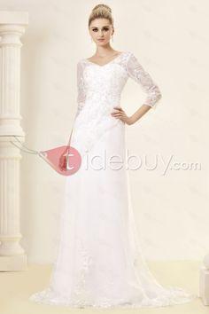 Aライン/プリンセスVネックロングスリーブチャペルレーストリムウェディングドレス