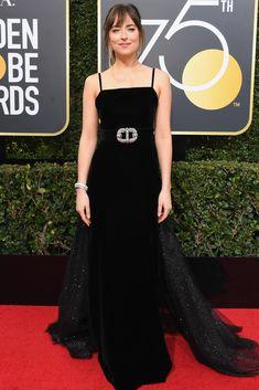 All the Glamorous 2018 Golden Globes Red Carpet Arrivals - Dakota Johnson from InStyle.com