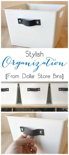 Turn any dollar store bin into DIY stylish organization totes with spray paint…