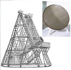 "Original mirror for William Herschel's 40-foot telescope. (Credit: Science Museum, London) Drawing of the telescope. (WikiCommons, artist unknown) ©Mona Evans, ""Space at the Science Museum London"" http://www.bellaonline.com/articles/art179333.asp"