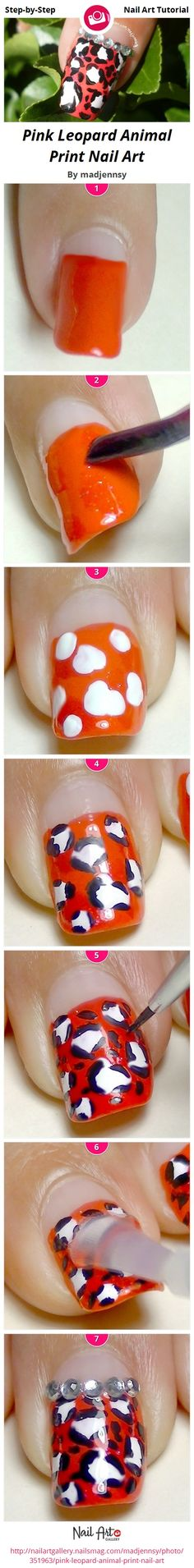 Pink Leopard Animal Print Nail Art by madjennsy from Nail Art Gallery