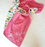 Personalize Double Minky Baby Blanket  Anne Kelle Chich in Fuchsia Minky Front You Choose SOLID COLOR minky