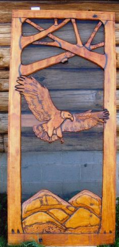 Flying Eagle Hand-carved screen door