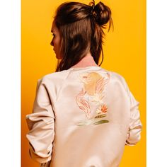 Embroidered Bomber-jacket Retro Style Jacket, Zip Front Jacket,... (235 PLN) ❤ liked on Polyvore featuring outerwear, jackets, embroidered bomber jacket, flight jacket, bomber jacket, blouson jacket and embroidered jacket