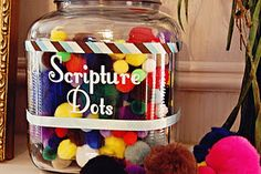 reward jar for learning scripture - thinking about using this for attendance and good behavior rewards -- J