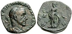 RARE LATE ROMAN SESTERTIUS  10157. AEMILIAN. 253 AD. AE Sestertius (27mm - 14.54 g). Rome mint. [IMP A]EMILIANVS PIVS FEL AVG, laureate, draped and cuirassed bust right, seen from behind / RO[MAE AETE]RN, S-C across fields, Roma standing left, holding Phoenix on globe in right hand, transverse spear in left hand, left elbow resting on shield set on ground. RIC IV 38. VF, greenish brown patina. Rare as are all Aemilian sestertii.