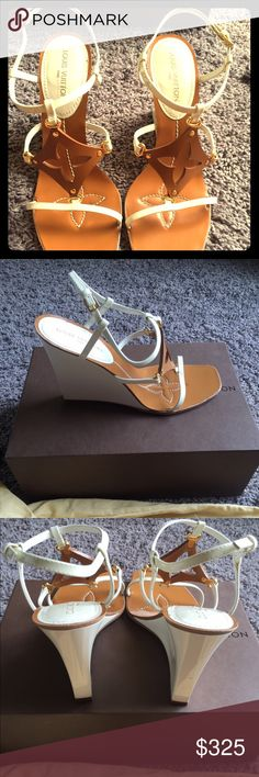 Authentic Louis Vuitton wedges Beautiful Louis Vuitton wedges in white and brown.  Super cute.  Pristine condition.  Only wore once Louis Vuitton Shoes Wedges