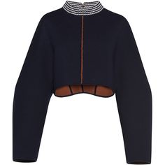 Marni Cropped Round Neck Sweater (3,165 CAD) ❤ liked on Polyvore featuring tops, sweaters, marni, open back sweater, cropped sweater, boxy crop tops, mock neck top and blue cropped sweater