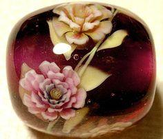 Old Rose Flower Round Bead by AyakoGlassGarden on Etsy