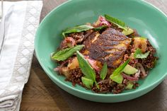 Chile-Blackened Cod with Epazote, Avocado & Red Rice Salad. Visit https://www.blueapron.com/ to receive the ingredients.