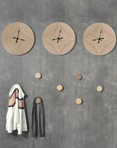 Wall-Mounted MDF #clock VEIOS by WEWOOD | #design Gonçalo Campos #wood @WeWood Australia Portuguese Joinery Wall Decor Design, Entryway Storage, Floor Patterns, Wall Shelves, Wall Hangings, Hangers, Wall Stickers, Clocks, Wall Mount