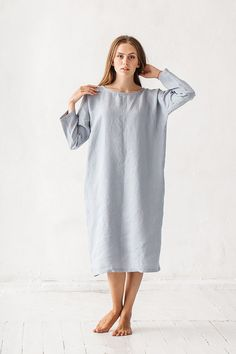 """DETAILS:  - Dress length about 110 cm / 43 - Can be made in different sizes - Made from 100 % Baltic linen - Medium weight linen   * Model wear size S * Model is 172 cm / 58 * Model measurements (bust 31 / waist 26 / hips 36 )   TAKING CARE: - hand wash gentle; - dry gentle; - Iron upside down at medium high;   SIZE CHART:  SIZE: XS / US 0-2 / EUR 34 / UK 5-6 Bust (cm/) - 82-84cm / 32-33 Waist (cm/) - 62-65cm / 24-25"""" Hips (cm/) - 90..."""