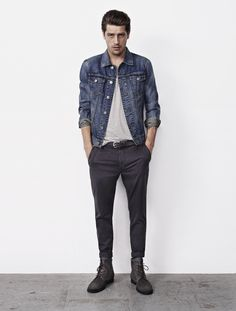 all saints clothes are cool af, though a little trendy and boring sometimes Hipster Fashion, Denim Fashion, Man Fashion, Style Fashion, Gq Style, Style Me, All Saints Clothing, Look 2018, Casual Wear For Men