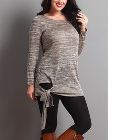 Another great find on #zulily! Oatmeal Melange Side-Tie Tunic - Plus #zulilyfinds