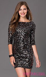 Buy Short Sleeveless Sequin Dress with 3/4 Length Sleeves at PromGirl
