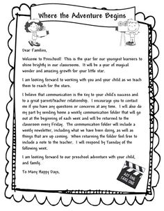 Learning and Teaching With Preschoolers: Welcome Parents Letter:                                                                                                                                                      More