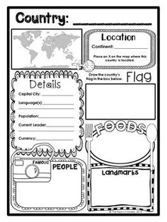 Great note taking sheet! As students learn about a country they can take notes on some of the details they learn on this fun sheet! They might could later use these note for a writing project or presentation!