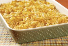 A favorite of all ages, this cheesy potato side dish is welcome at any pot luck, family gathering or holiday table. think it would be easy to make 'healthier'.