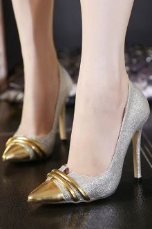 Metallic Toe Bling Bling Sequined Pumps
