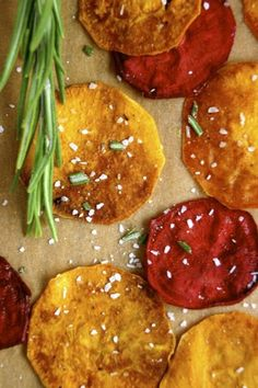 Crunchy sweet potato, beet, and parsnip chips sprinkled with garlic-rosemary salt.