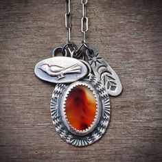 Montana agate charm necklace - bird necklace - feather necklace - boho necklace…