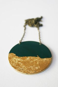 Gold pendant hand painted choose yor colour by VictoriAtelier