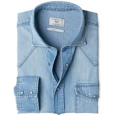 Slim-Fit Light Denim Shirt (5910 DZD) ❤ liked on Polyvore featuring tops, shirts, long sleeve collared shirt, snap shirt, blue collared shirt, slim shirt and blue top
