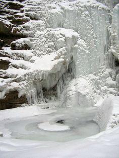 Ice waterfall -Ya Ha Tinda Valley -Alberta, Canada, pool