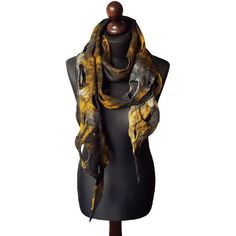 Felted scarf felt scarf felted collar handmade art to wear grey yellow... (€65) ❤ liked on Polyvore featuring accessories and scarves