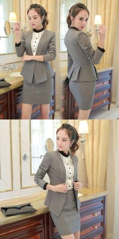 Novelty Grey Slim Fashion Formal Professional Work Suits With Jackets And Skirt Female Blazers Ladies Office Outfits Skirt Suits Business Dresses, Business Outfits, Office Outfits, Office Wear, Casual Office, Stylish Office, Blazer Fashion, Skirt Fashion, Fashion Outfits