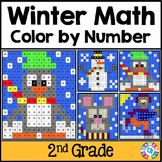 2nd Grade Winter Math: 2nd Grade Word Problems (Color by Number)