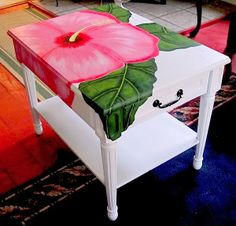 "Functional Art End Table ""Pink Hibiscus"". AmbersonArt.blogspot.com"