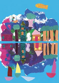 "Our first activity was to make ""butterfly prints"" as we needed a symmetrical print. The students chose their favourite one with the colours and effects that they required. The print was split and pasted on a blue surface. The top half represents mountains and the bottom half represents the sea. A collage was created on the top using textured and glossy papers."