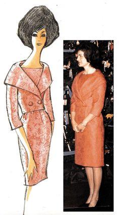Oleg Cassini design sketch & finished results for Jackie Kennedy Estilo Jackie Kennedy, Los Kennedy, Jacqueline Kennedy Onassis, 1960s Fashion, Timeless Fashion, Vintage Fashion, Southampton, Familia Kennedy, Valentino