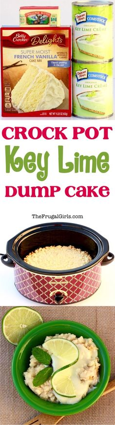 Craving some Key Lime deliciousness? You'll love this EASY Crock Pot Key Lime Dump Cake Recipe! Just 3 ingredients and pure Key Lime heaven! (dessert ideas for party 3 ingredients) Crock Pot Food, Crockpot Dishes, Crock Pot Slow Cooker, Crockpot Recipes, Cooking Recipes, Crock Pots, Summer Crock Pot Recipes, Crockpot Summer Meals, Cooking Cake