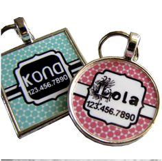 Pretty Moroccan Print Pet ID Tag-Teal or Pink. $9.99, via Etsy, omg @Devon Kerner