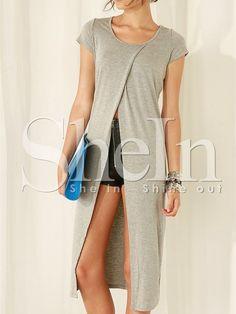 Grey Cap Sleeve Split Front T-shirt -SheIn(Sheinside)