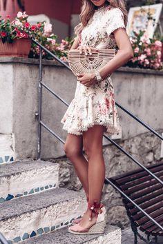 Zimmermann floral print lace up back dress + Cult Gaia bag + Castaner wedge espadrilles