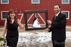 Love the idea with the picture frame and with the 2 people that have stood by you throughout the whole wedding planning makes the picture perfect!