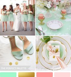 Party Palette | Mint, Peach and Antique Gold - to see more: http://www.theperfectpalette.com/2014/02/party-palette-mint-peach-and-antique.html