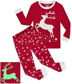 Girls Pajamas Reindeer Glowinthedark Kids Pjs 100 Cotton Toddler Clothes  Shirts Size 4T    Want additional info  Click on the image. 7edc94361da